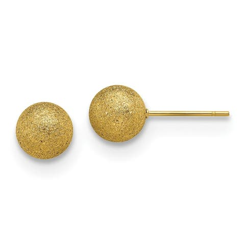 Chisel Stainless Steel Polished Laser cut Yellow IP-plated 8mm Ball Post Earrings