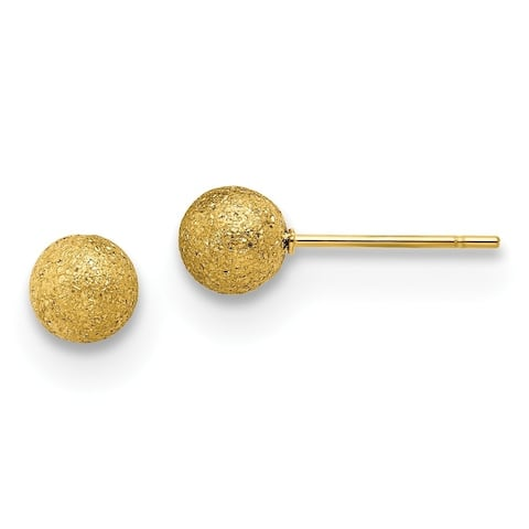 Chisel Stainless Steel Polished Laser cut Yellow IP-plated 6mm Ball Post Earrings