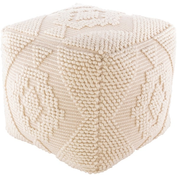 Natalia Textured Farmhouse 18-inch Square Pouf. Opens flyout.