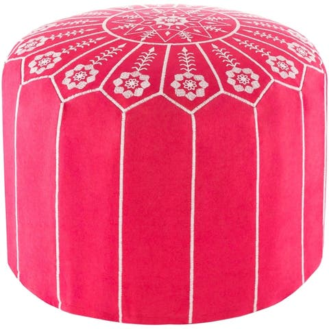 Isidora Embroidered Moroccan 20-inch Round Pouf