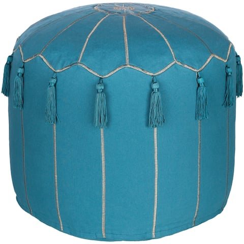 Jamile Embroidered Moroccan 18-inch Cylinder Pouf