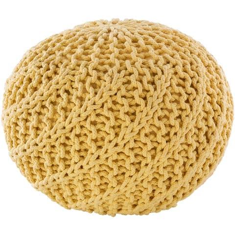 Carson Carrington Pahkuri Modern Knitted 20-inch Round Pouf