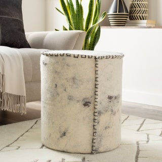 Areti Modern Abstract 16-inch Cylinder Pouf