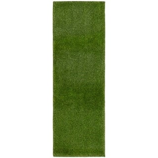 Handmade Art Grass Green  Rug - ECARPETGALLERY - 2'0 x 6'0