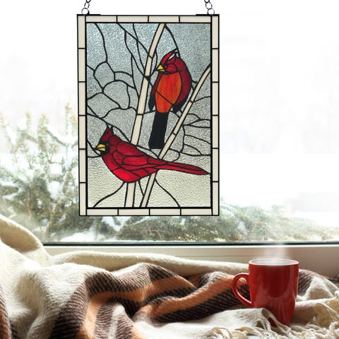 "River of Goods 30.25""H Northern Cardinal Songbird Stained Glass Window Panel"