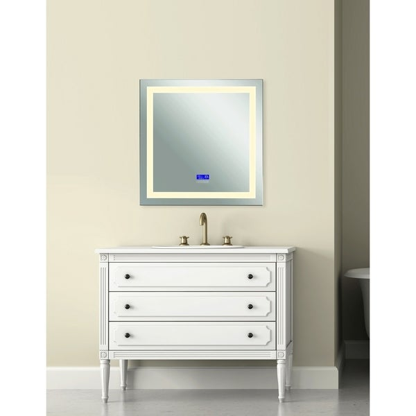 36 in. x 40 in. Abril Matte White Rectangle LED Wall Mirror