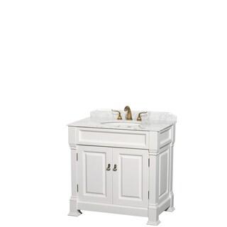 Andover 36-Inch Single Vanity, Carrara Marble Top, Oval Sink,No Mirror