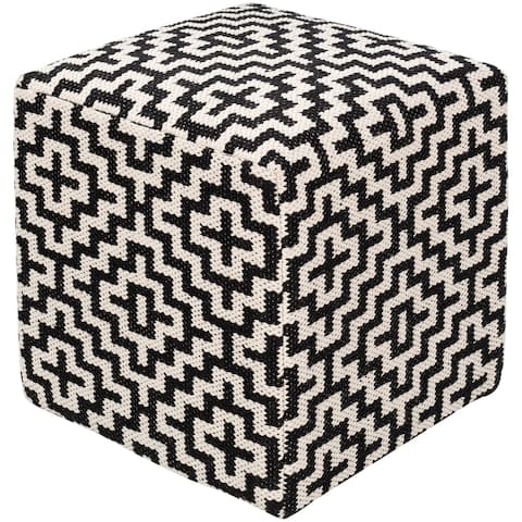 Aleena Farmhouse Geometric 16-inch Square Pouf