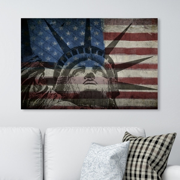Oliver Gal 'Statue of Liberty' Americana and Patriotic Wall Art Canvas Print - Red, Blue