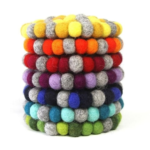 The Curated Nomad Southard Handmade Chakra Color Felt Ball Coasters (Set of 4)