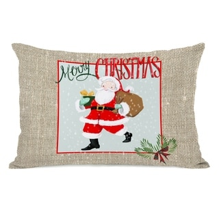 Merry Christmas Santa Burlap - Multi 14x20 Pillow by Pinklight Studio - April Heather Art