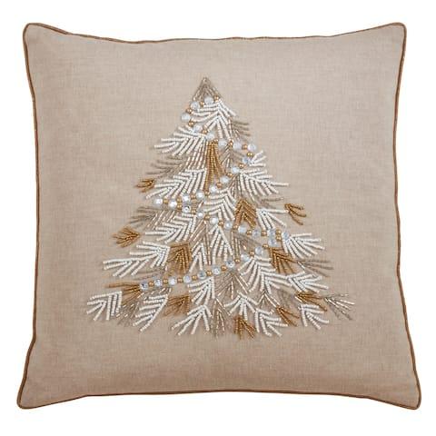 Throw Pillow with Beaded Christmas Tree Design