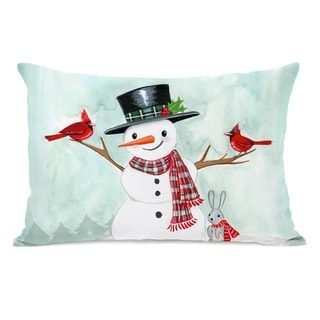 Happy Snowman - Multi 14x20 Pillow by Pinklight Studio - April Heather Art