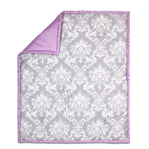 The Peanut Shell Damask Cotton Quilt in Purple/Grey