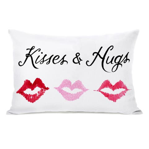 Kisses and Hugs - Multi 14x20 Pillow by Timree