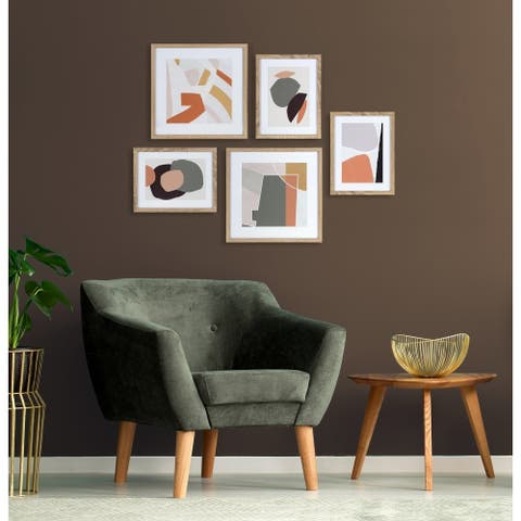 Kate and Laurel Mid-Century Modern Colorful Art Set - Natural