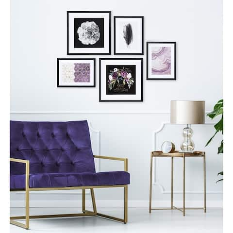 Kate and Laurel Glam Art Set Of 5 - Black