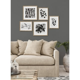 Kate and Laurel Black And White Florals Rustic Art Set - Natural