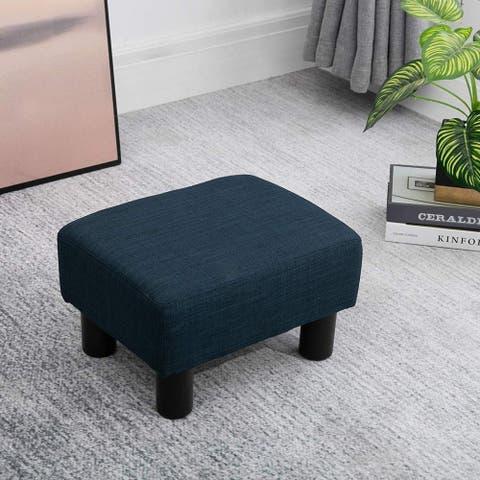 "16"" Cube Modern Linen Footrest Ottoman (As Is Item)"
