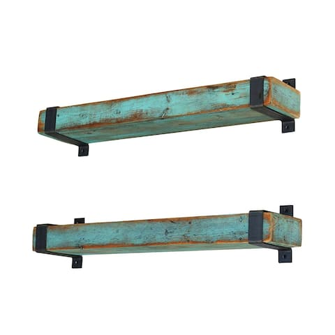 Aqua Metal Wrapped Shelves