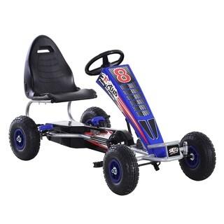 Aosom Metal Pedal Powered Car, Go Kart Racer, Ride On Toys for Boys & Girls with Adjustable Seat & Sharp Handling