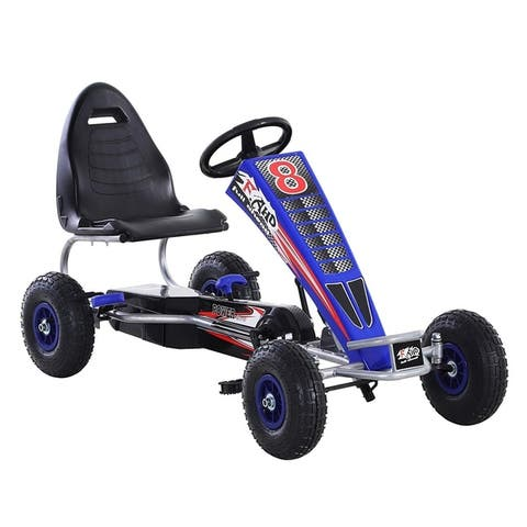 Aosom Metal Pedal Powered Car, Go Kart Racer, Ride On Toys for Boys & Girls with Adjustable Seat & Sharp Handling