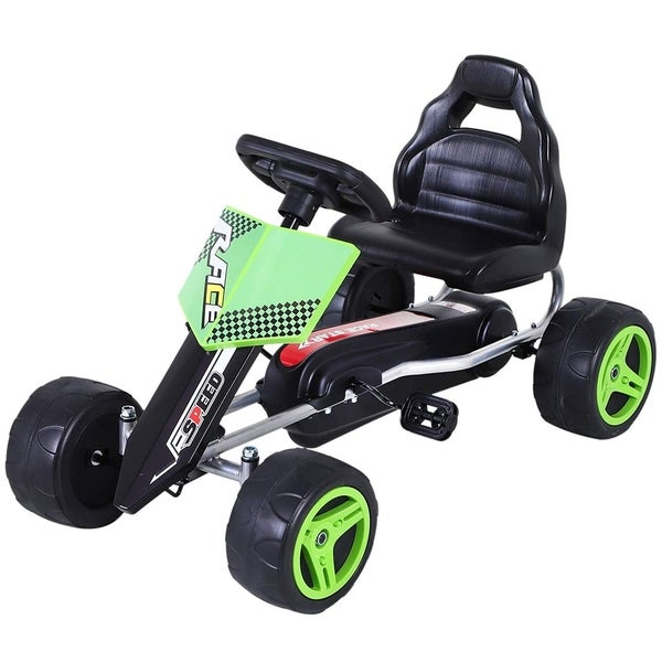 Aosom Kids Go Kart, 4 Wheeled Ride On Pedal Car, Racer for Boys and Girls for Outdoor. Opens flyout.