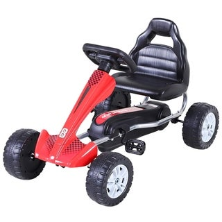 Link to Aosom Kids Go Kart, 4 Wheel Ride on Car, Pedal Powered Ride On, Racer Toys for Boys and Girls - Red Similar Items in Bicycles, Ride-On Toys & Scooters