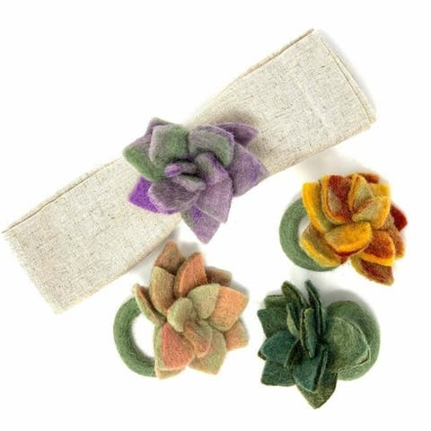 The Curated Nomad Thrift Handmade Felt Succulent Napkin Rings (Set of 4)