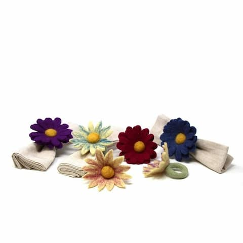 The Curated Nomad Thrift Handmade Felt Daisy Napkin Rings (Set of 6)