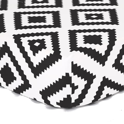 The Peanut Shell Tile Print Cotton Fitted Crib Sheet in Black/White