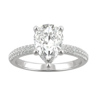 Link to 14k White Gold Moissanite by Charles & Colvard Pear Cut Pave Engagement Ring 2.45 TGW Similar Items in Rings