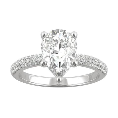 14k White Gold Moissanite by Charles & Colvard Pear Cut Pave Engagement Ring 2.45 TGW