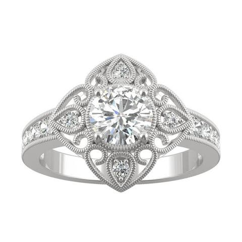 14k White Gold Moissanite by Charles & Colvard Floral Milgrain Halo Ring 1.05 TGW
