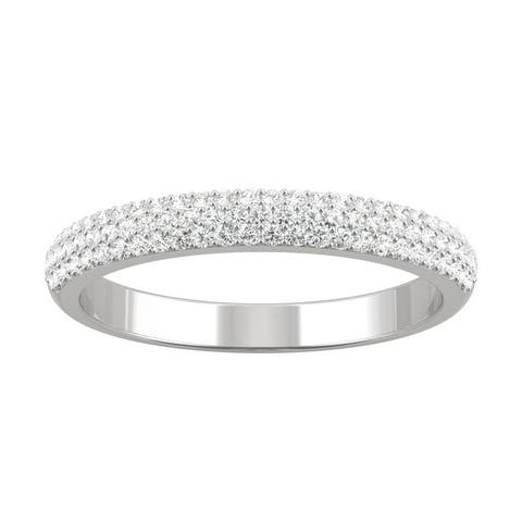 14k White Gold Moissanite by Charles & Colvard Micropave Wedding Band 0.39 TGW