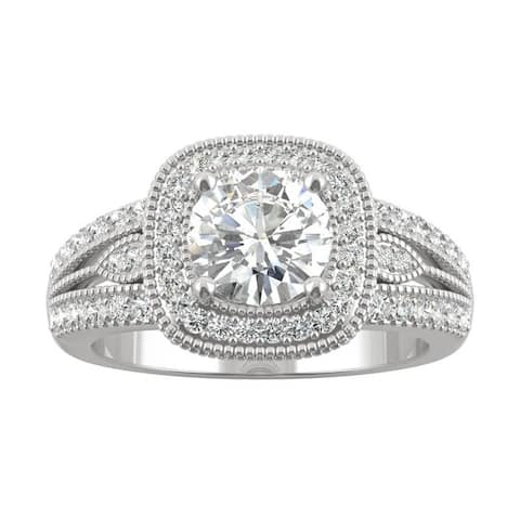 14k White Gold Moissanite by Charles & Colvard Milgrain Halo Split Shank Ring 1.31 TGW