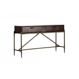 Modrest Shane Modern Acacia & Brass Console Table
