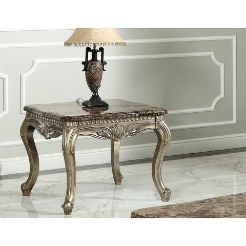 Best Master Furniture Bronze with Marble Top End Table