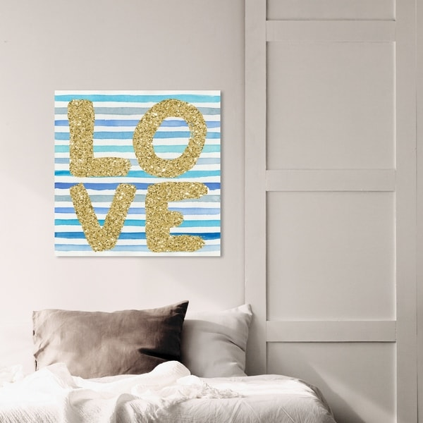 Oliver Gal 'Effortless Love Blue Stripes' Typography and Quotes Wall Art Canvas Print - Gold, Blue