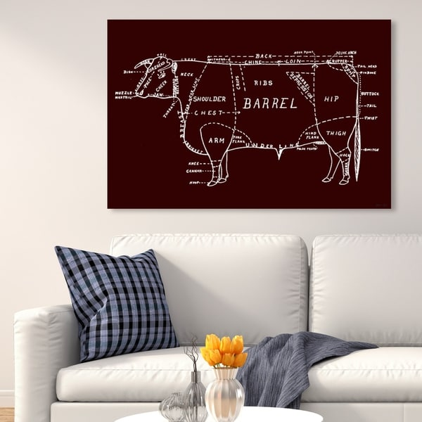 Oliver Gal 'Oxblood Beef' Animals Wall Art Canvas Print - Red, White