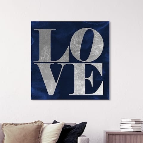Oliver Gal 'Solid Gold Navy Silver' Typography and Quotes Wall Art Canvas Print - Blue, Gray