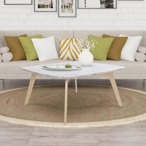 "Vezzana 31"" Square Italian Carrara White Marble Coffee Table with Oak Legs"