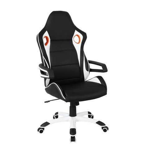 Handmade Modern Designs Black and White Racing Style Home Office Chair