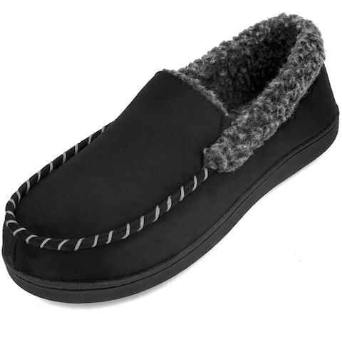 Mens Memory Foam Wool-Like Slip on Mules Clogs Slippers-Anti-Skid Rubber Sole Indoor Outdoor Footwear
