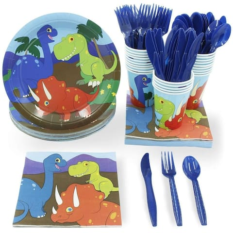 48 Set Dinosaur Disposable Party Supply Fun Dino Paper Plate Napkin Cup Utensil
