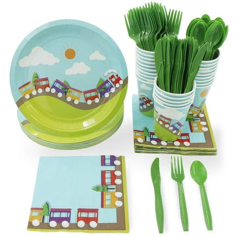 All Aboard Choo Choo Trains Party Supplies - Plate, Cutlery , Cup and Napkin Set