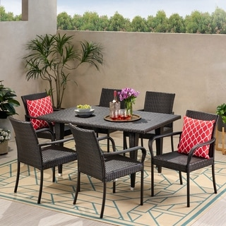 Luxington Outdoor Contemporary 6 Seater Wicker Dining Set by Christopher Knight Home