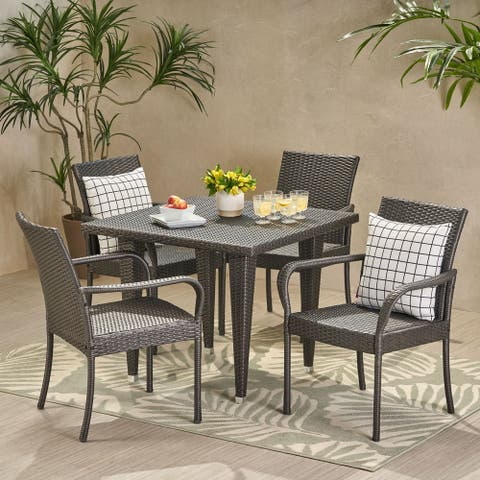 Trombone Outdoor Contemporary 4 Seater Wicker Dining Set by Christopher Knight Home