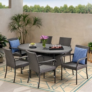 Barona Outdoor Contemporary 6 Seater Wicker Dining Set by Christopher Knight Home