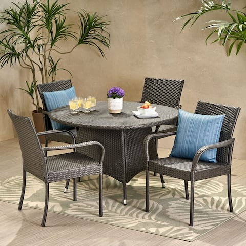 Pala Outdoor Contemporary 4 Seater Wicker Dining Set by Christopher Knight Home